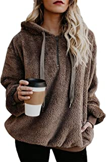 Womens Oversized Sherpa Pullover Hoodie with Pockets Fuzzy Fleece Sweatshirt Fluffy Coat