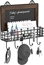 Greenstell Key Hooks Holder with Chalkboard, Tags & 5 Key Hooks, Wall Mounted Mail Sorter Organizer, Rustic Wood Mail Hold...