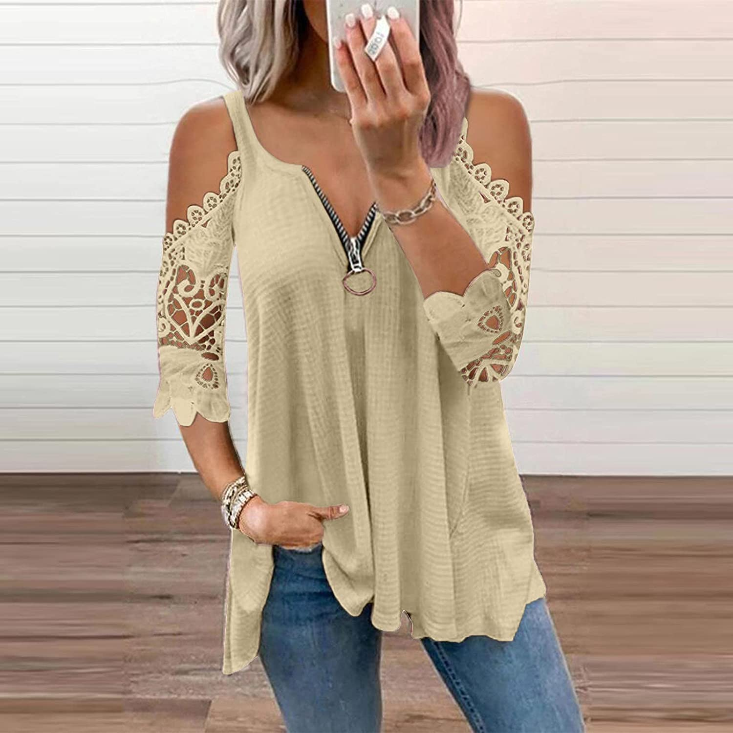 Women Sexy Lace Tshirts Summer V Neck Tunics Tops Casual Fashion Tees Cold Shoulder Zipper Blouses
