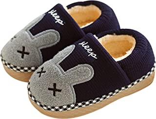 JACKSHIBO Girl Cute Home Slippers Kid Fur Lined Winter House Slippers Warm Indoor Slippers for Boys