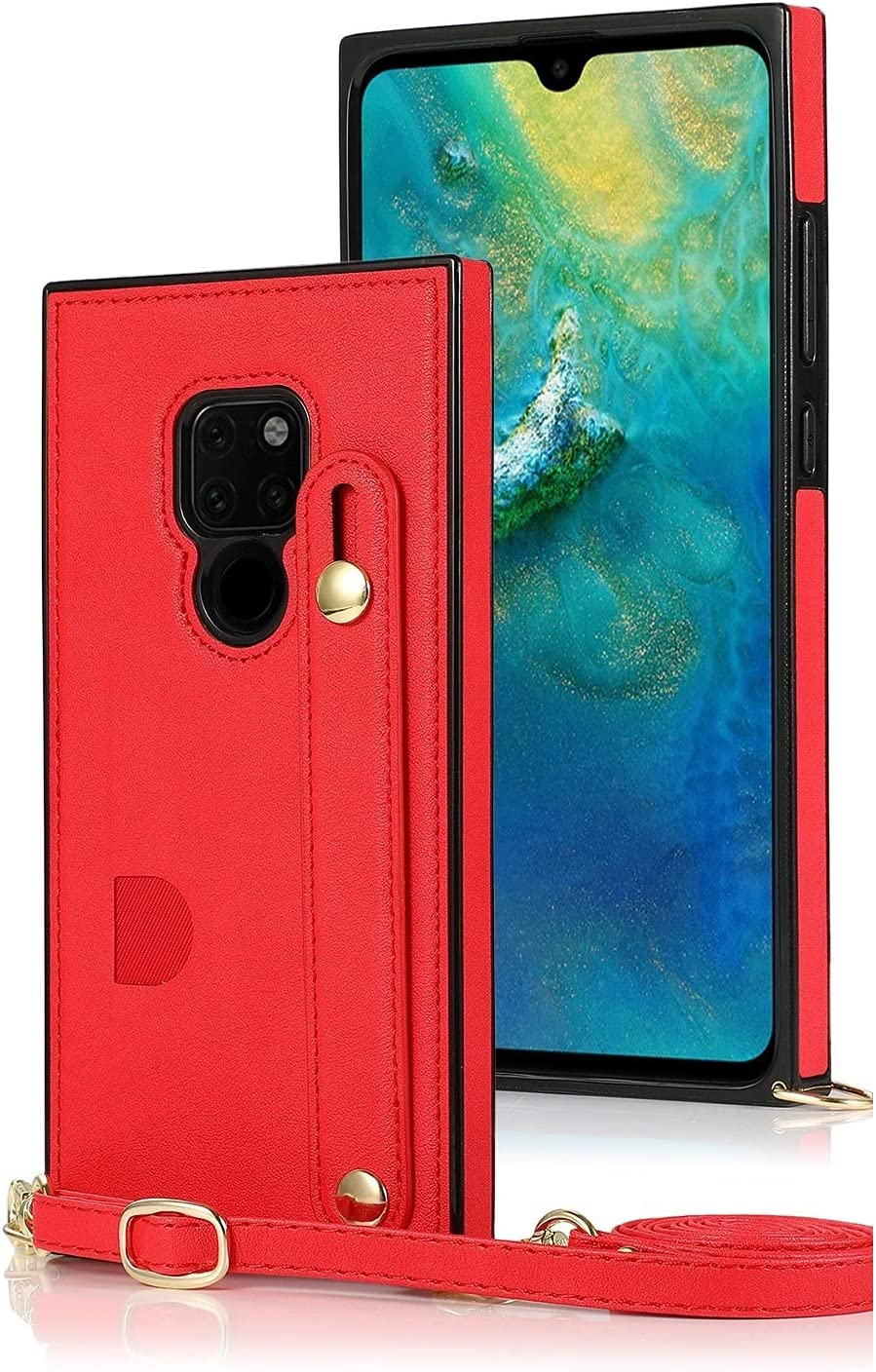 SLDiann Case for Huawei Mate 20, Leather Case with Credit Card Slot Non-Slip Buckle Holder/Crossbody Long Lanyard, Shockproof Leather TPU Case Cover for Huawei Mate 20 (Color : Red)