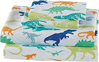 Elegant Homes Green Blue Orange Dinosaur Design Fun 4 Piece Printed Sheet Set with Pillowcases Flat Fitted Sheet for Boys/Kids/Teens (Dinosaurs Green, Queen Size)