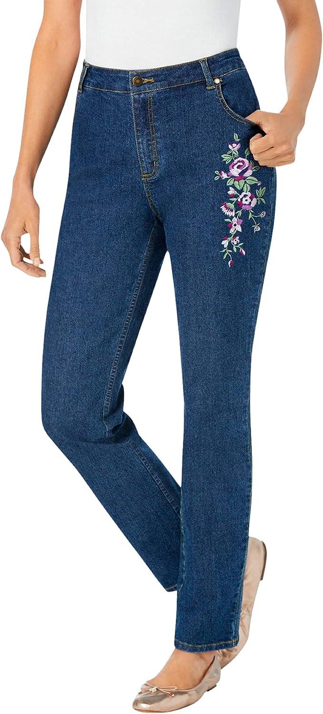 Woman Within Women's Plus Size Straight Leg Stretch Jean