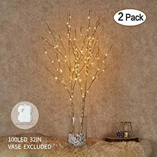Hairui Lighted Artificial Golden Twig Tree Branch with Fairy Lights 32in 100 LED Battery Operated Lighted Willow Branch for Christmas Home Party Decoration Indoor Outdoor Use 2 Pack (Vase Excluded)