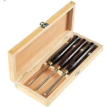 Mophorn Herramientas de Torno Madera 3 Piezas para Tornear Madera Gubias con Caja de Almacenamiento Kit de Herramientas de Talla de Madera: Amazon.es: Bricolaje y herramientas
