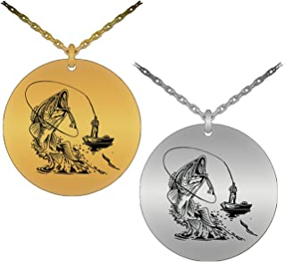 Sporty & Symbolic Fisherman in A Boat Catching A Largemouth Bass Laser-Engraved Pendant Necklace