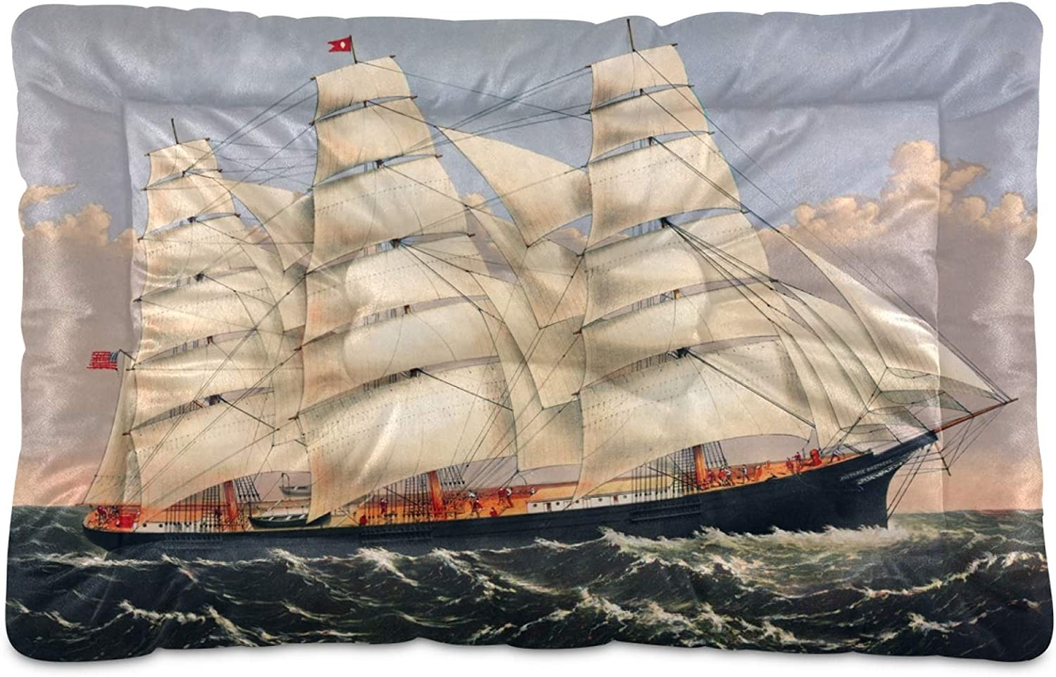 We OFFer at cheap prices KEEPREAL Spasm price Clipper Ship Sailing Dog Cat Comfort Rectangle Bed