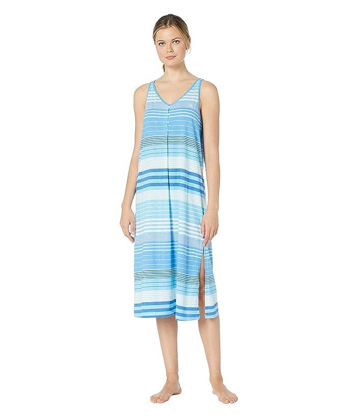 LAUREN Ralph Lauren Sleeveless Button Neck Ballet Gown (Blue Stripe) Women