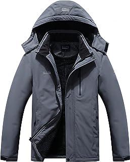 DLGJPA Men's Mountain Waterproof Ski Jacket Detachable Hood Windproof Rain Winter Warm Snow Coat