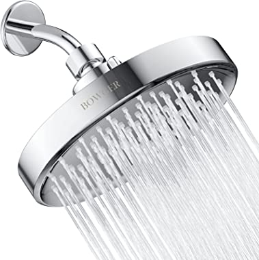 BOWGER Rain Shower Head, 6 Inches High Pressure Waterfall Showerhead, Angles Adjustable, Anti-Clog Silicone Nozzles, Tool-Fre