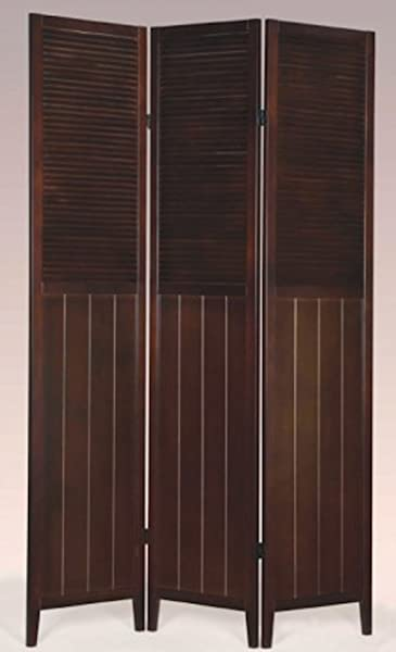 Legacy Decor 3 Panel Wooden Blind Screen Dividers Espresso