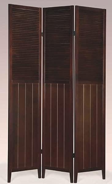 Legacy Decor 3 Panel Espresso Wood Oriental Shoji Screen Room Divider