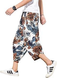 INVACHI Men's Elastic Waist Wide Leg Cotton Harem Baggy Pants Patchwork Linen Capri Trousers