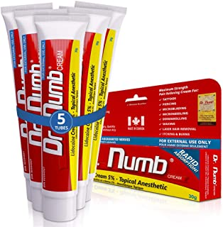 5 Tubes of Dr. Numb Maximum Topical Anesthetic Anorectal Cream, Lidocaine 5% ~ Net Wt 1 Oz (30g) Per Tube