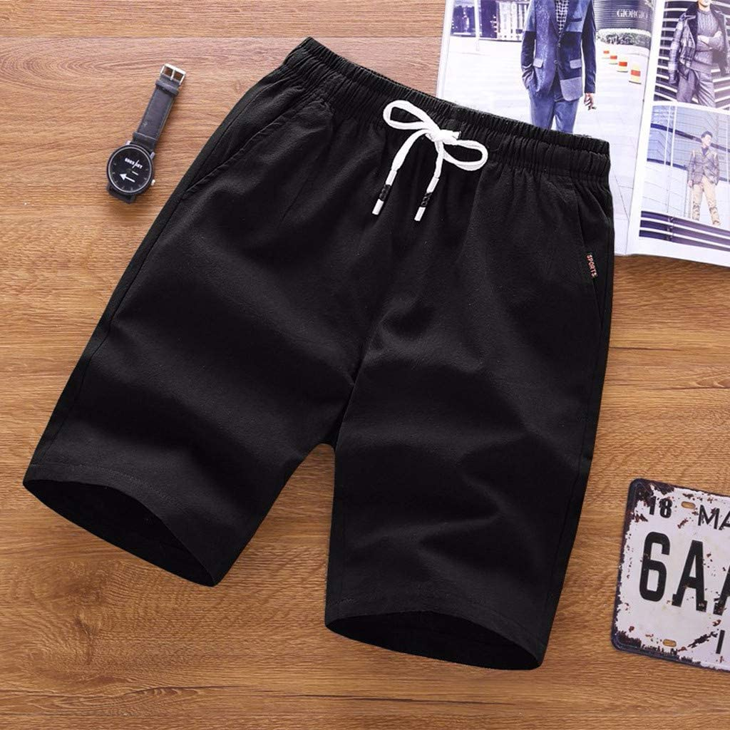 VEKDONE Men's Summer Shorts Casual Classic Fit Elastic Waist Drawstring Workout Comfy Beach Shorts Big and Tall