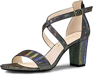 Allegra K Women's Colorful Cross Strappy Block Heel Sandals
