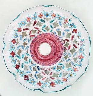 Lampadario Traforato diametro 25 centimetri Linea Ramina Ceramica Le Ceramiche del Castello Pezzo Unico Handmade Made in I...