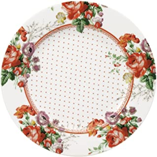 Katie Alice Scarlet Posey Salad Plate,7-1/2-Inch, White Floral