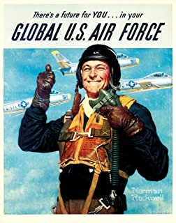 USA - Global US Air Force - (artist: Norman Rockwell c. 1952) - Vintage Advertisement (16x24 Fine Art Giclee Gallery Print, Home Wall Decor Artwork Poster)