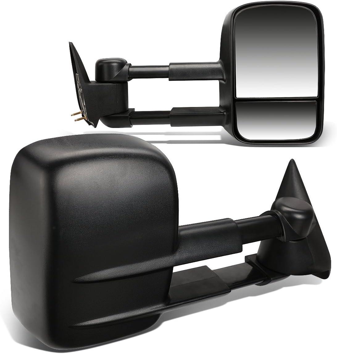 Pair Black Manual Telescoping Folding Rear View Towing Mirrors C