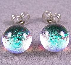 Tiny Dichroic Glass Stud Post Earrings - 1/4