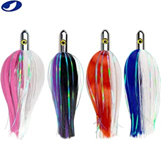 OCEAN CAT 7and 9 inches Ilander Style Saltwater Trolling Lure, Bullet Head Tracker Fishing Lures with Flashers, for Sailfish, Dolphin, Mackerel, Wahoo and More