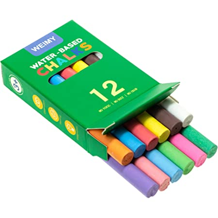 Truly Dust Free Chalk for Art Decorating Whiteboard Blackboard Includes Fun Magnetic Chalk Holder 12CWH-WHITE WEIMY 12-Count Colored /&12-Count White Dustless Chalks Non-Toxic