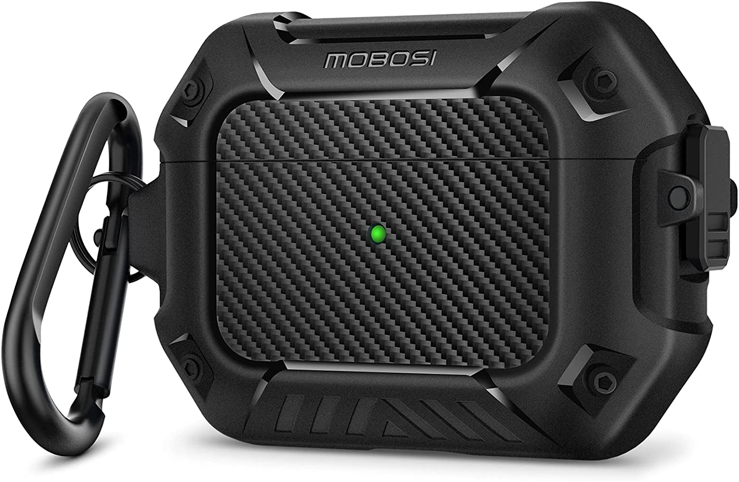 MOBOSI Compatible with AirPods Pro Case, Secure Lock Clip Full Body Shockproof Hard Shell Protective, Carbon Fiber Case Cover with Keychain for AirPod Pro (2019), Black