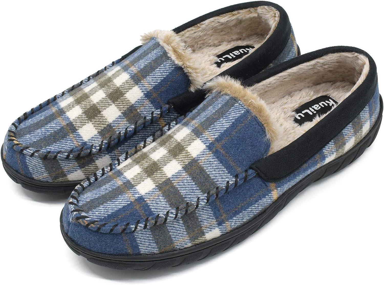 KuaiLu Herren warme Pantoffeln m/änner pl/üsch gef/ütterte Hausschuhe Bequeme geschlossen Plaid Flauschig Fell Mokassins mit R/ückstellschaum