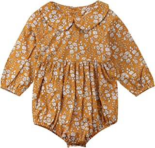 Newborn Baby Girls Floral Print Long Sleeve Round Neck Vintage Romper Infants Ruffles Jumpsuit
