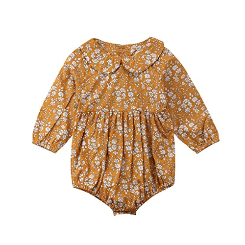 6298ac60cf Newborn Baby Girls Floral Print Long Sleeve Round Neck Vintage Romper  Infants Ruffles Jumpsuit Ginger Yellow