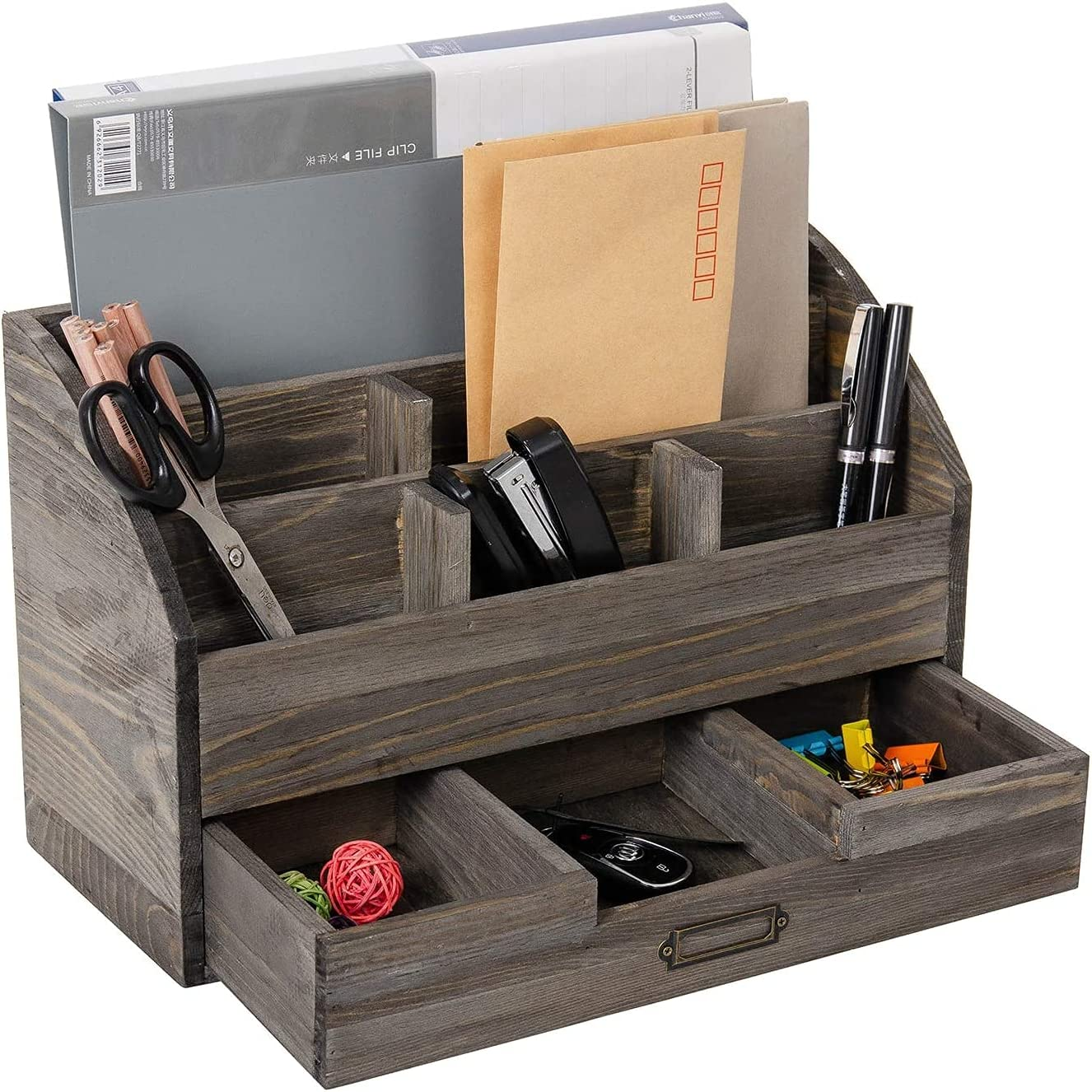 Rustic Wooden Office Desk Organizer 5 Compartment with 2 Drawer &Counter Home Desk Tabletop Desktop Mail Rack ,Storage for Pens Notebooks Folders Pencils and Office Supplies Jewelry storage box (Rock Grey)