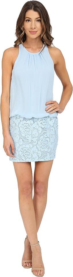 Sleeveless Cutaway Halter Blouson with Lace Skirt