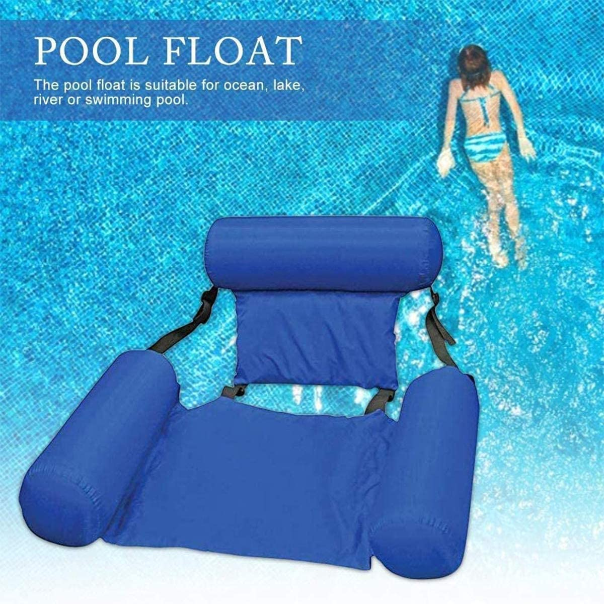 Water Hammock Pool Toys,Inflatable Ride-ons Swimming Pool Beach Floating Recliner Inflatable Water Hammock Floating Bed Lounge Chair Drifter Swimming Pool Beach Float for Adult
