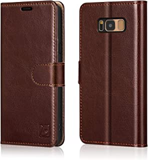 Belemay Samsung Galaxy S8 Plus Case, Genuine Cowhide Leather Wallet Case, Flip Folio Cover with Magnetic Closure, Kickstand, Card Holder Slots, Cash Pockets Compatible Samsung Galaxy S8 Plus, Brown