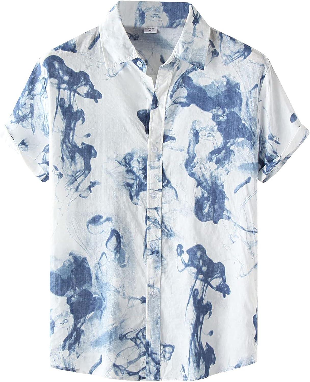DZQUY Casual Short Sleeve Hawaiian Shirts for Men Summer Hipster Hip Hop Button Turn-Down Splice Print Aloha Beach Shirts