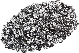 ZenQ 1 lb Snowflake Obsidian Tumbled Stone Chips Crushed Natural Crystal Quartz Pieces