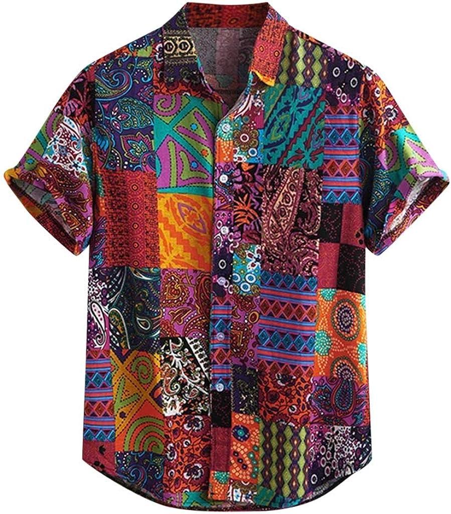VEKDONE Mens Casual Short Sleeve T-Shirts Fashion Hippie Vertical Striped Button Down Poplin Shirts Summer Beach Tops