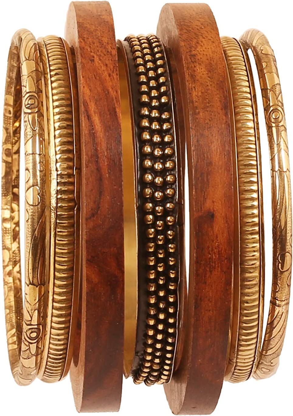 Touchstone Indian Bollywood Hand Cut Natural Wood Pretty Assorted Patterns Brass Designer Jewelry Bangle Bracelets in Gold Tone for Women.