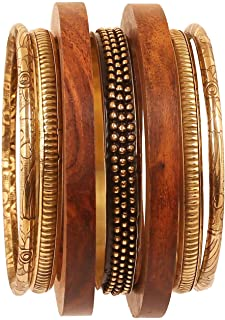 Touchstone Indian Bollywood Cool Fashion Hand Cut Natural Wood Pretty Assorted Patterns Brass Designer Jewelry Bangle Brac...