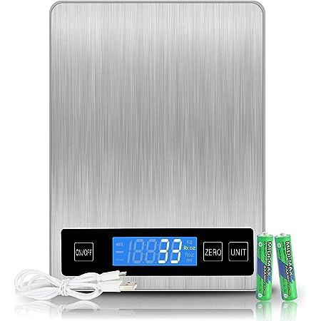 Balance Cuisine Numérique Electronique, 15kg/33lb Balance Alimentaire,Balance de Precision 1g ,Acier Inoxydable Batterie ou Charge USB ,Écran LCD Rétroéclairé Auto-arrêt Fonction de Tare