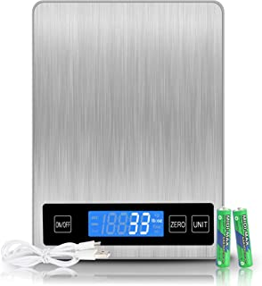 Balance Cuisine Numérique Electronique, 15kg/33lb Balance Alimentaire,Balance de Precision 1g ,Acier Inoxydable Batterie o...