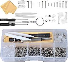 Kit Riparazione Occhiali, Strumento di Riparazione degli Occhiali Kit, viti 500pz Micro Dadi e pinzette e cacciavite per O...