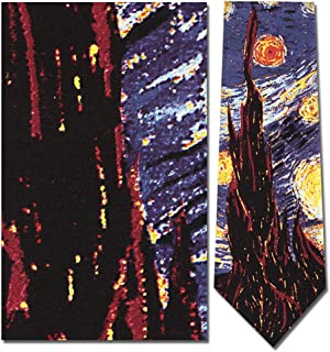 Mens 100% Silk Van Gogh Starry Nights Tie Necktie