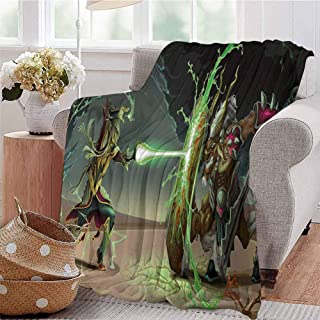 CRANELIN Printing Artwork Blanket Animal Comics Superheros with Dangerous Wildlife Powers Goat with Rays Design Print Multicolor Bed Sleeping Travel Pets Reading W70 xL84