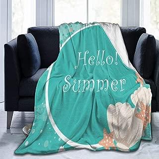 SLHFPX Micro Fleece Plush Soft Baby Blanket Water Starfish Sea Shell Fluffy Warm Toddler Bed/Crib Blanket Lightweight Flannel Daycare Nap Kids Sleeping Tummy Time Throw Blanket Girls Boy 50