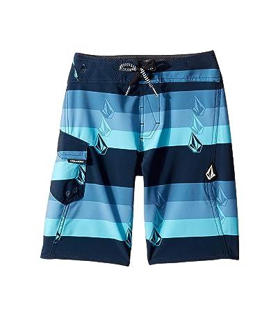 Volcom Kids Lido Liney Mod Boardshorts (Big Kids) (Vintage Blue) Boy