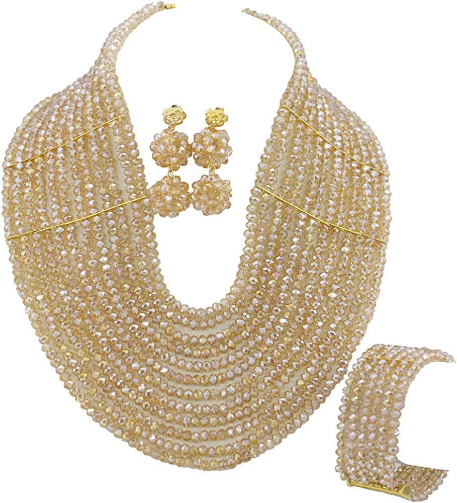 Africanbeads Champagne 12 Rows African All items in the store Jewelry Nigeria Beads Set Max 50% OFF