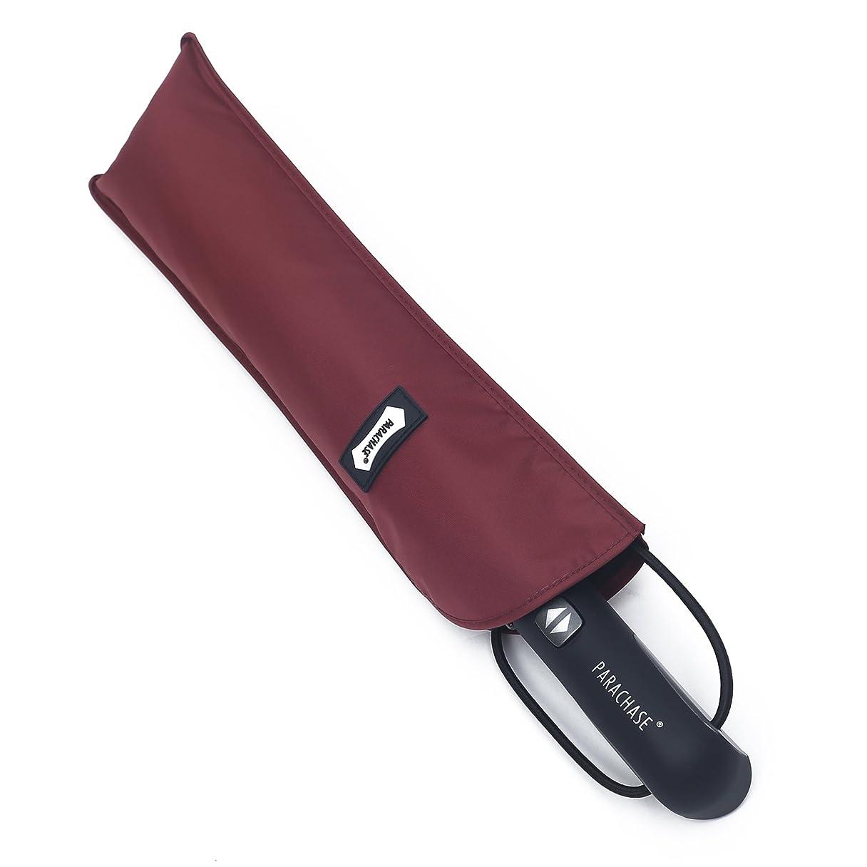 活性化する魂雇用者PARACHASE 折りたたみ傘 自動開閉 折り畳み傘 大きい 傘 超大型 耐風 ワンタッチ メンズ 撥水 グラスファイバー おしゃれ 8本骨 70cm 二人用可能 直径122cm 日本国内品質保証 レッド