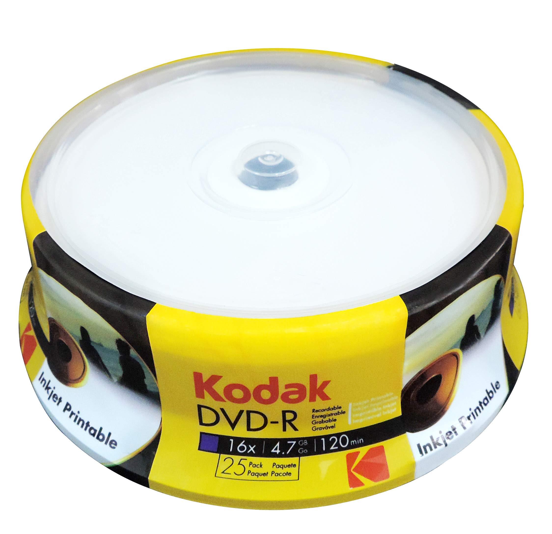 Kodak DVD-R 4.7 GB/120 Min 16x, Imprimible, 25 Piezas en Caja ...